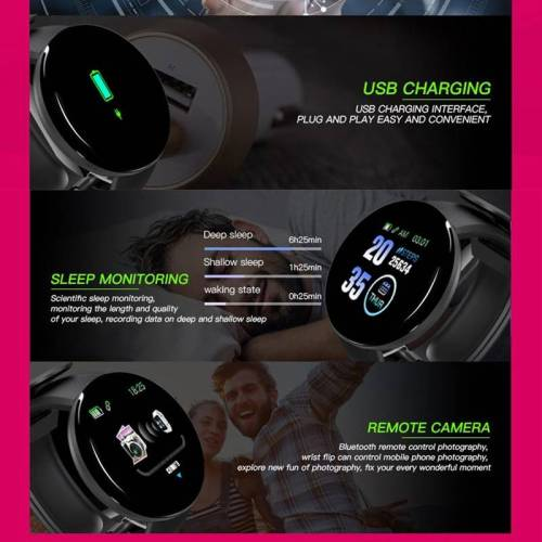 Smart Watch Blood Pressure Heart Rate Monitor Waterproof Watch For Android IOS Wrist Watches cb5feb1b7314637725a2e7: Add 4 straps Add a blue strap Add a green strap Add a pink strap Add a red strap Black Blue Green Pink Red