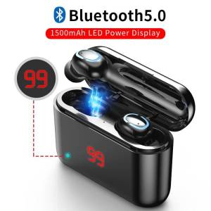 Bluetooth Wireless Handsfree Earbuds – 3D Stereo Headset With Mic Charging Box Earphones & Headphones cb5feb1b7314637725a2e7: NO display black|NO display white|Power display black|Single ear black