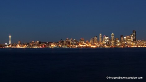 25 second exposure of Seattle Skyline at Sunset