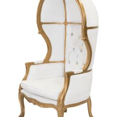 White And Gold Chair Metal Accessories Porter Ivory