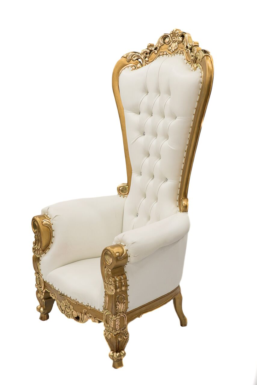 white and gold chair diy ball base throne