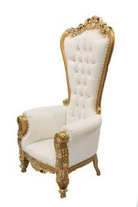 White & Gold Throne Chair