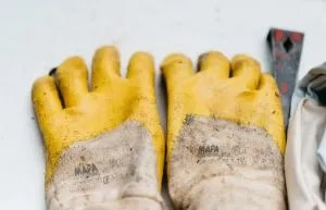 A pair of heavy-duty gloves