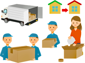 A drawing of people packing boxes, two houses and a moving truck in the background