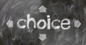 Choice written on a board