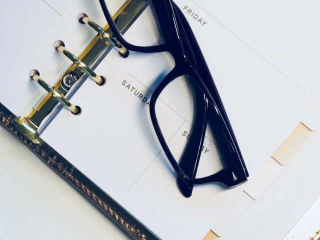 Planner and glasses
