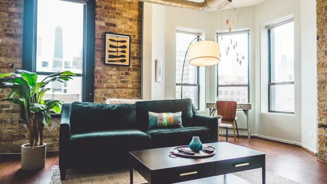 An industrial living room