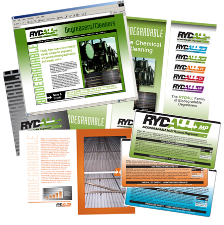 Rydall Degreasers - (New Product Launch - Sales Marketing Brochures, Print Collateral, Product Label