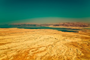 desert landscape with body of water