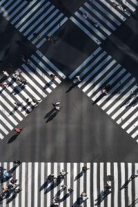 aerial view of crosswalks