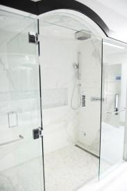 Master Bathroom, walk in shower, rain shower, body sprays, built in niche