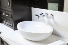 Master Bathroom, double vanity, vessel sinks, wall faucets, custom cabinetry