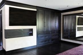 Master Bedroom, corner fireplace, flat screentv, Italian plaster walls, built in closets