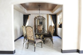 "Dining Room, Marge Carson Furniture, Copper leaf ceiling details, Italian plaster walls, 24"" x 24"" floor tile"