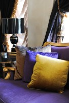 Mary MacDonald Lamps, purple, gold, Christopher Guy couch