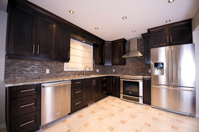 kitchen cabnet wood floors in shaker style cabinet doors drawers portfolio evolve walnut cabinets and made installed by