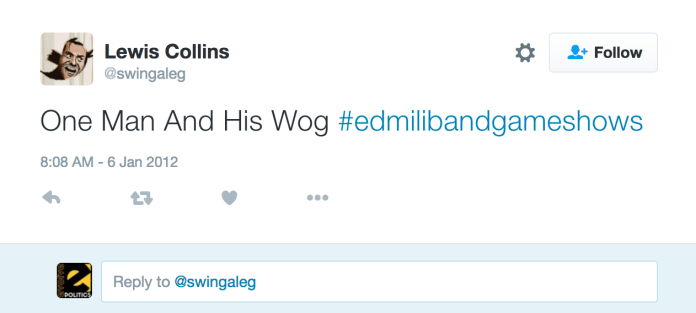 Lewis Collins Racist Tweet
