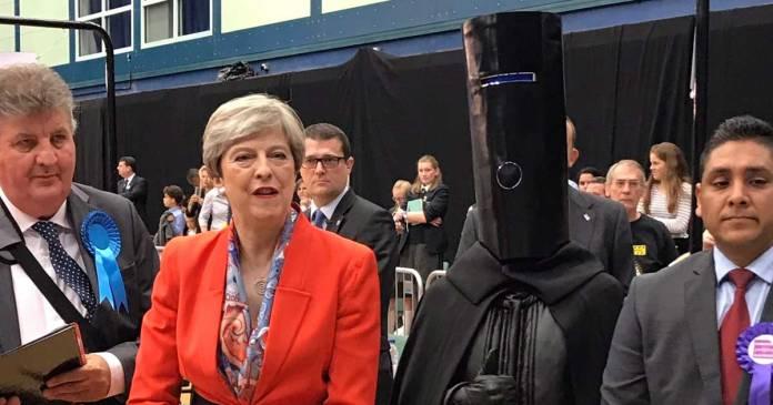 Lord Buckethead with Theresa May