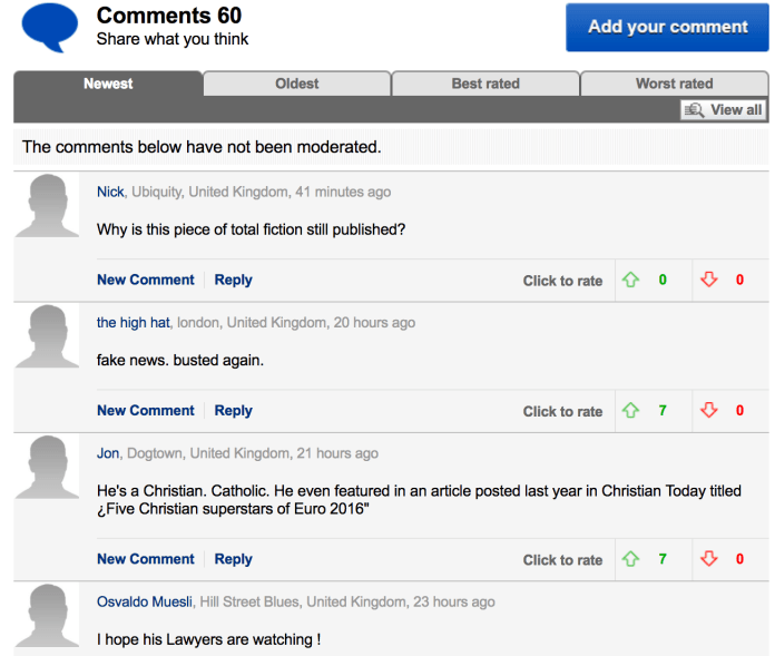 Daily Mail Lukaku Muslim Christian Comments 1