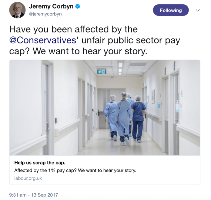 Corbyn Public Sector Pay Cap