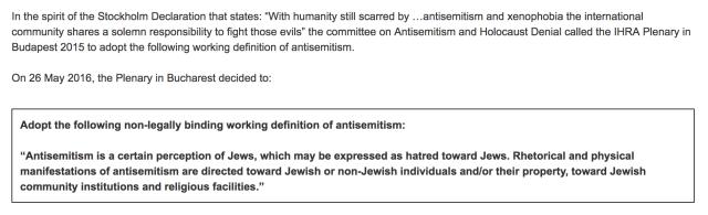 IHRA Definition of Antisemitism