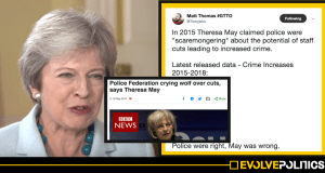 """Homicides up 33%. Knife Crime up 62%. Robberies up 58%. Are your own crime figures just """"scaremongering"""" now, Theresa?"""
