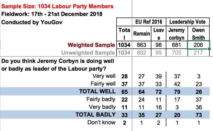 People's Vote Brexit Poll Corbyn Support