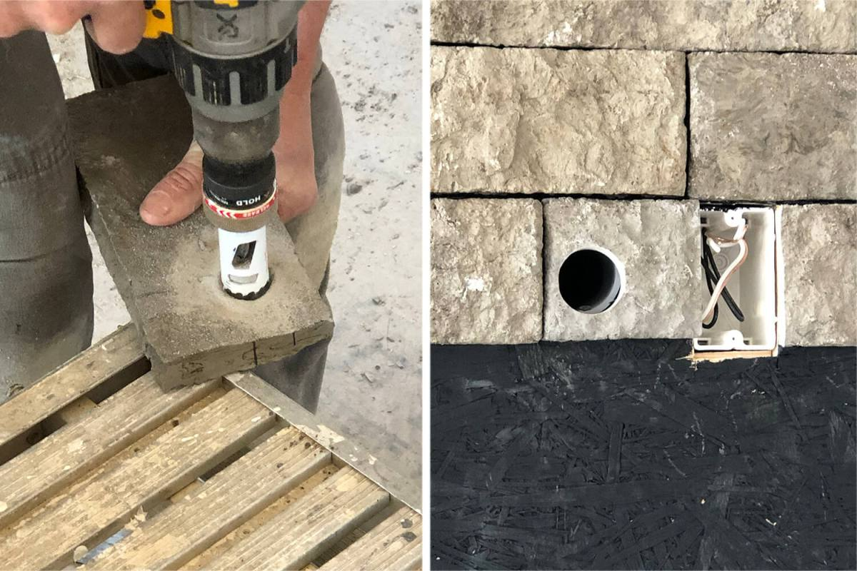 stone veneer with hole being drilled into it next to a picture of the stone with a hole applied on a wall