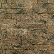 dry stack stone veneer in thin rectangles that are the same height but different lengths