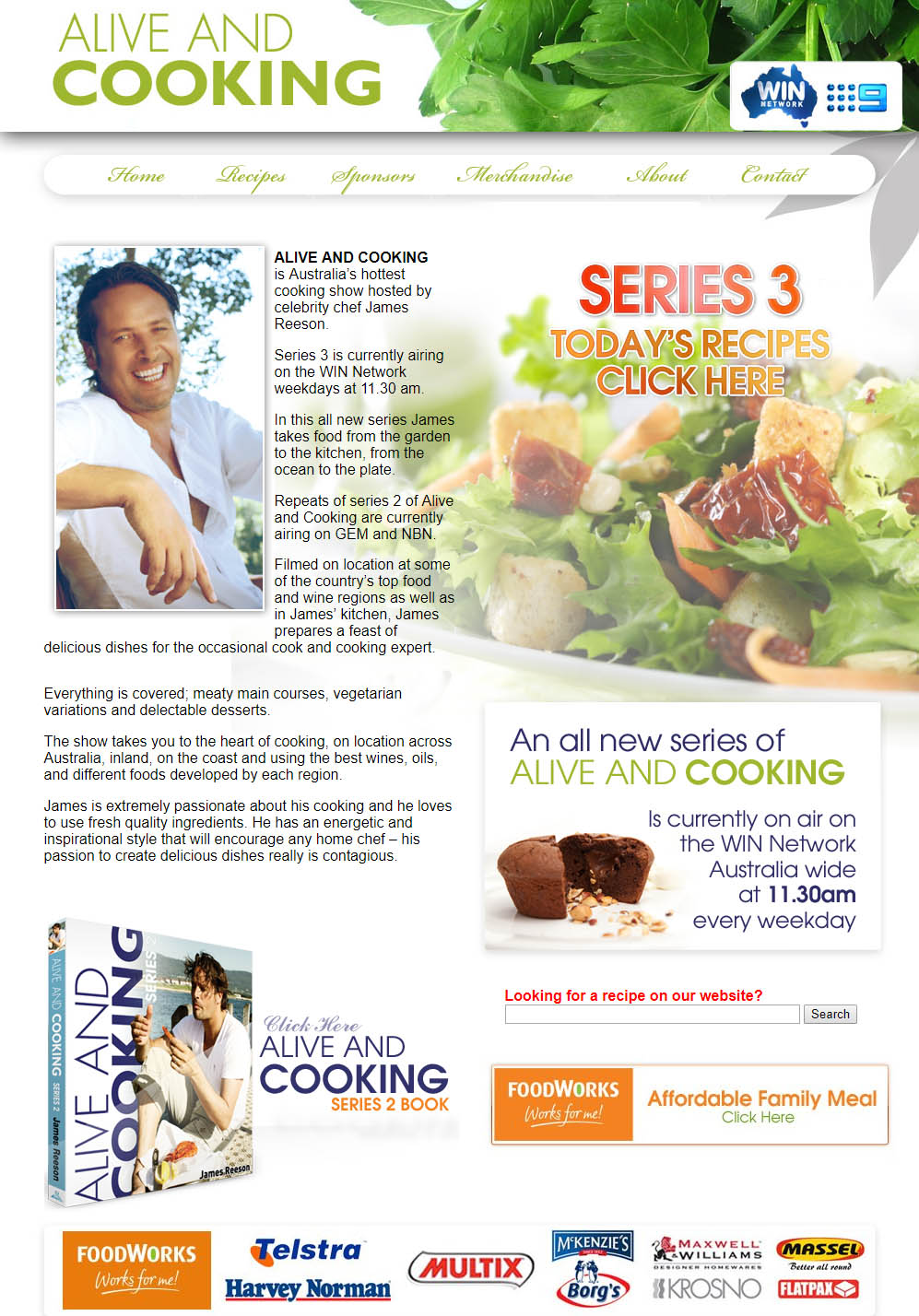 Alive and Cooking Website Design