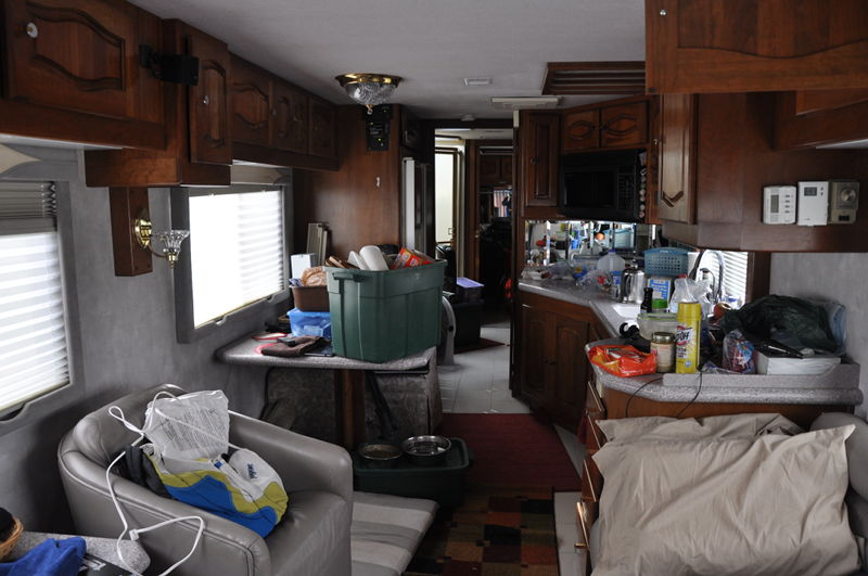 RV in disarray after putting our stuff in it to live full time in the RV.