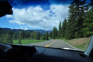 View of the snow capped peaks during our drive into the Teanaway Coumminty Forest while living in our RV full time.