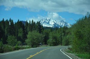 A view of a snow capped peak in the Cascade mountains near Teanaway Community forest on our full time RV adventure.