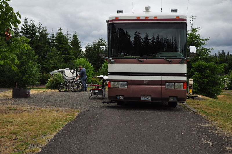 Our campsite all setup at LL Stub Stewart state park outside Portland, OR on our full time RV living adventure.