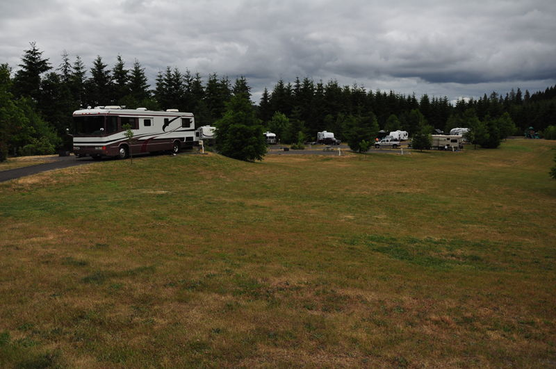 Our campsite with the RV in it at LL Stub Stewart State Park outside Portland on our full time RV adventure.