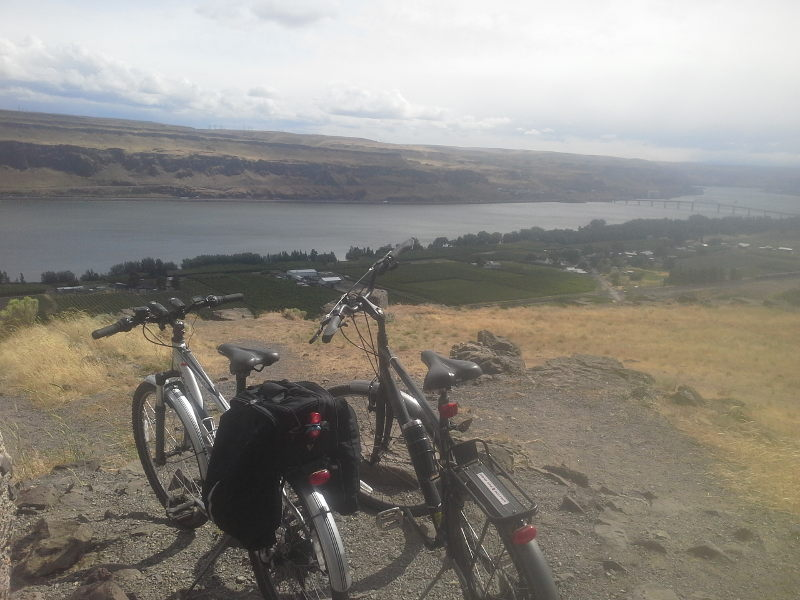 Our bikes sitting just outside the Stonehenge Memorial overlooking the Columbia river while doing some touring on our full time RV adventure.