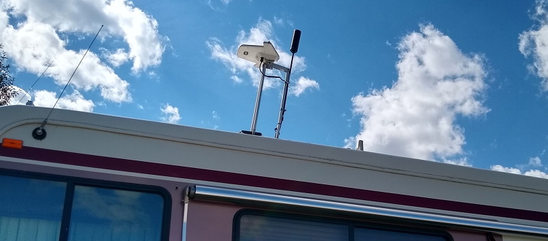 Weboost with OTR antenna mounted on the RV's TV antenna to get excellent cell coverage while traveling the country full time in our RV.