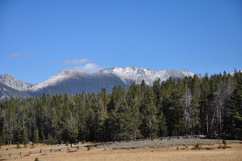 Viewing our first snow capped peaks in the Pioneer Mountains as we travel through Montana in our RV.