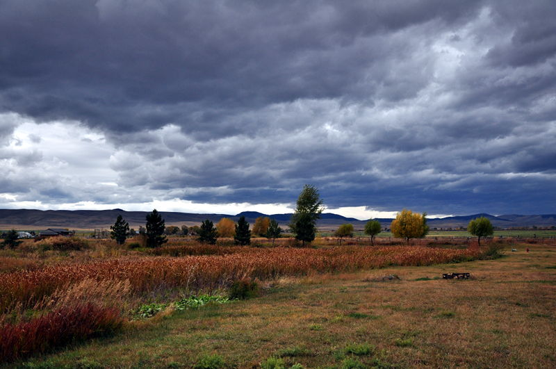 A dramtic sky with amazing clouds and the fall colors are starting to show in Montana as we travel the country by RV.