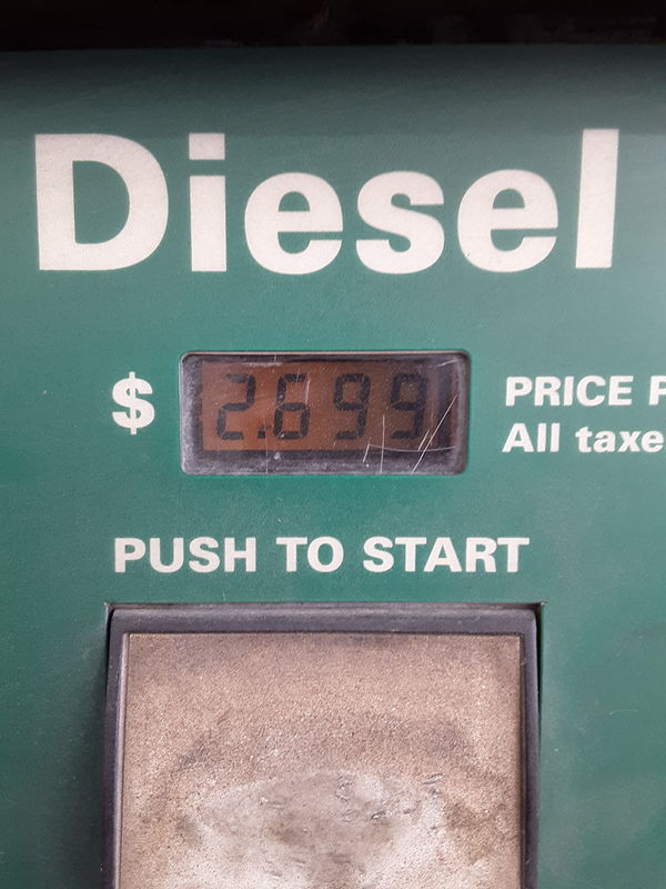 Diesel pump showing $2.69 per gallon in Yuma is the best price we've seen on our RV adventure.