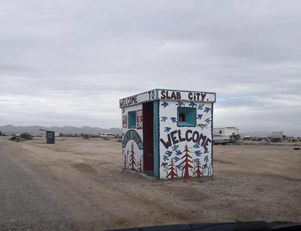 Welcome to Slab City booth at the entrance of Slab City while full time RVing.