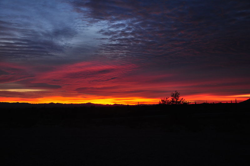 Sunset from a boondocking spot near American Girl Mine road in Arizona.