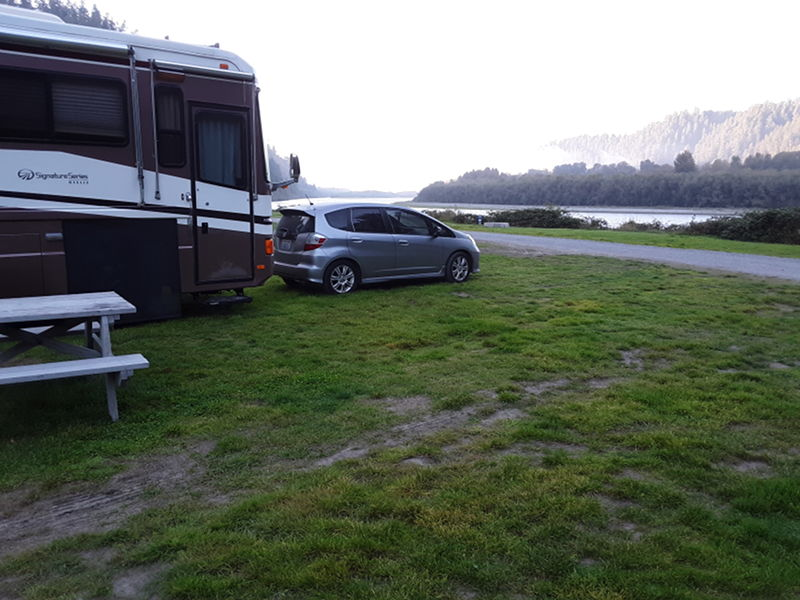 Our site right next to the river at Klamath River RV park in Klamath, CA.
