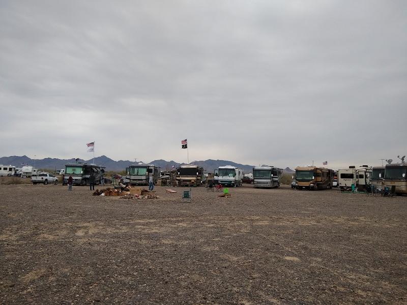 A large circle of Monaco RVs attending the irv2.com meetup in LaPosa South LTVA area near Quartzsite, AZ.