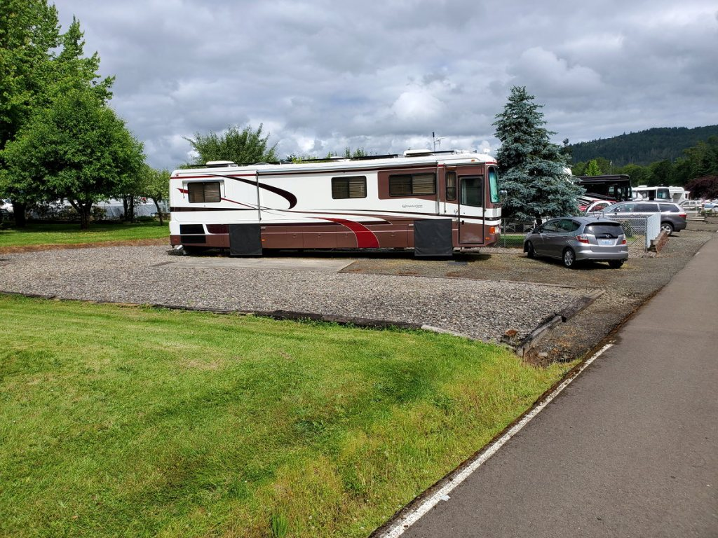 Our RV in our site at Timber Valley SKP park in Sutherlin, OR while staying a few months during our travels around the US.