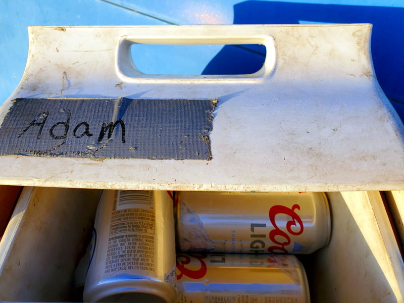Adam's lunch box full of Coors light.