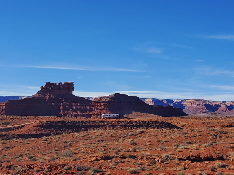 Our RV parked inside valley of the gods.