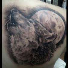 Moon and Wolf Tattoos