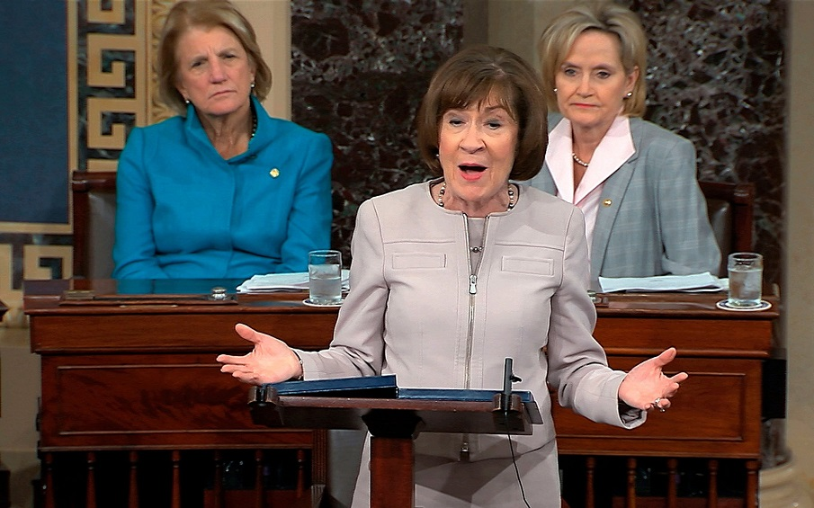 Mandatory Credit: Photo by Uncredited/AP/Shutterstock (9915693b) In this image from video provided by Senate TV, Sen. Susan Collins, R-Maine., speaks on the Senate floor about her vote on Supreme Court nominee Judge Brett Kananaugh, in the Capitol in Washington Supreme Court Kavanaugh, Washington, USA - 05 Oct 2018