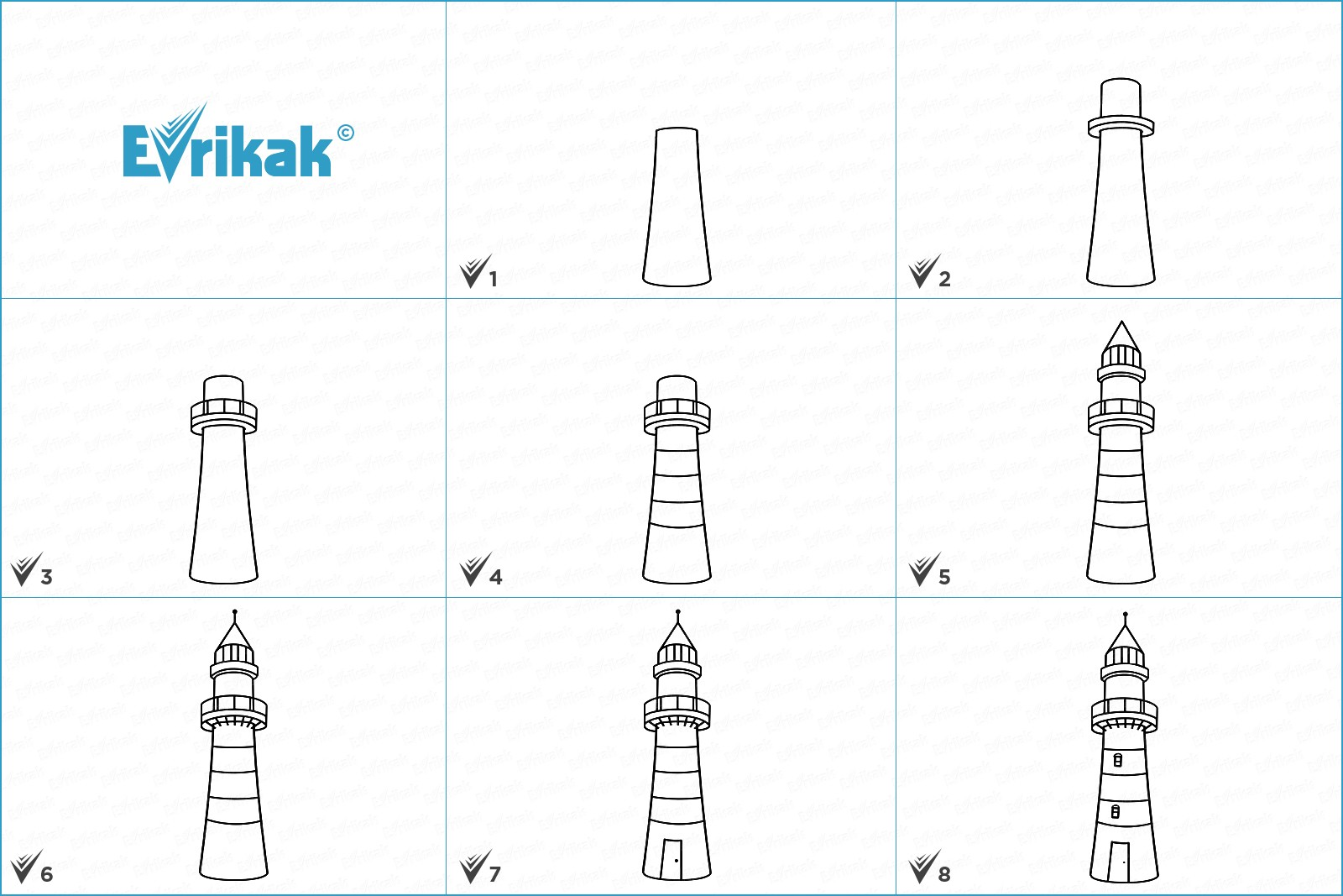 Learn how to draw a lighthouse step by step